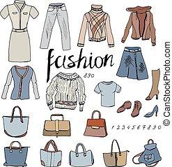 donna, oggetti, clothes., set, white., casuale