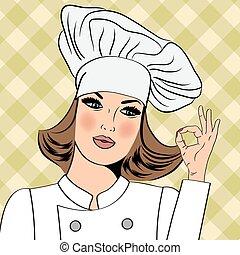 donna, ok, lei, segno, mano, chef, sexy, uniforme, gesturing