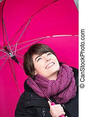 donna, ombrello, giovane