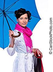 donna, ombrello