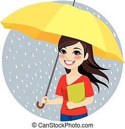 donna, ombrello, presa a terra