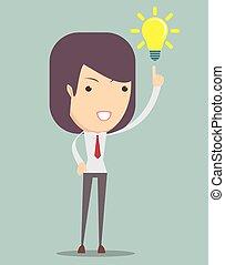 donna, ottenere, affari, giovane, idea