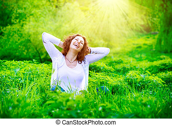 donna, outdoors., godere, giovane, natura, bello