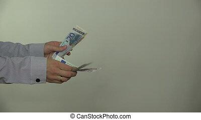 donna, pagare, euro, contanti, soldi, banconote, per, uomo,...