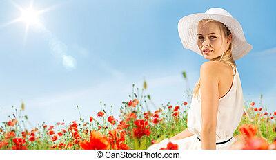 donna, paglia, giovane, mettere campo papavero, sorridente,...