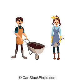 donna, pala, coppia, lavoro, illustrazione, vettore, giardinieri, carriola, giardinieri, cartone animato, terra, uomo