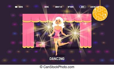donna, palcoscenico, sito web, persone, vettore, carattere, illustrazione, disegno, cartone animato, ballo, esecuzione