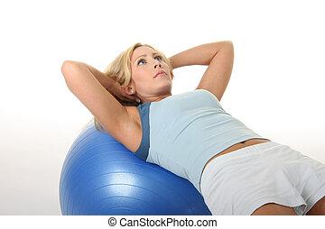 donna, palla, esercizio