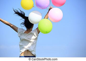 donna, palloni, giovane