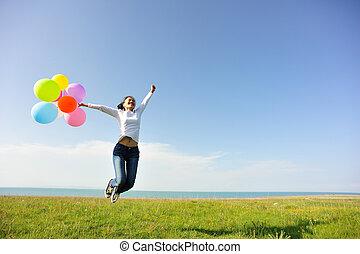 donna, palloni, giovane, colorato