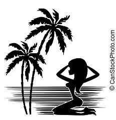 donna, palma, silhouette, albero