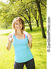 donna, parco, esercitarsi
