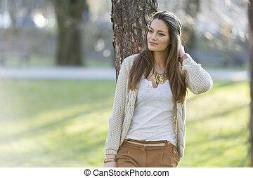 donna, parco, giovane, carino