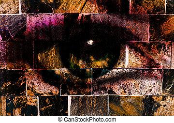 donna, parete, concept., fondo., mattone, pittura, occhio, struttura
