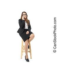 donna parlando, legno, sopra, panca, telefono, caucasico