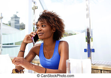 donna parlando, mobile, giovane, telefono, nero