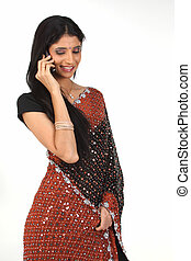 donna parlando, su, telefono cellulare