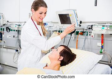 donna, paziente, dottore, controllo, risultati medici,...