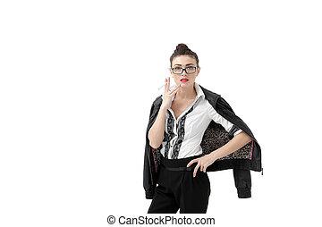 donna, pelliccia, macchina fotografica, giovane guardare, sigaretta, occhiali, fondo, elegante, ritratto, fumo, cappotto bianco