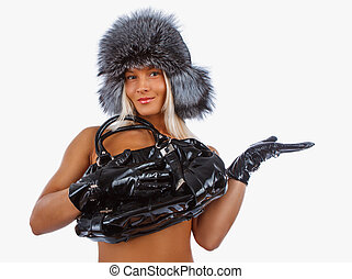 donna, pelliccia, monokini, hat.