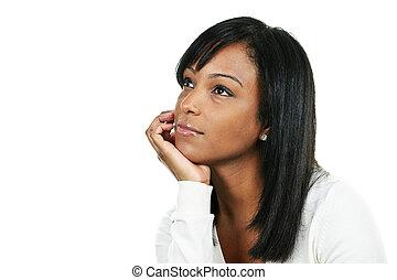 donna pensante, giovane