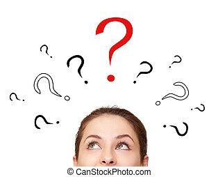 donna pensante, guardando, su, molti, domanda, segni, sopra,...