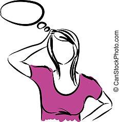 donna pensante, illustrazione
