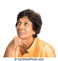 donna pensante, indiano, maturo