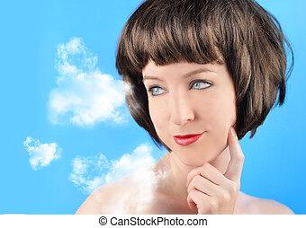 donna pensante, nubi