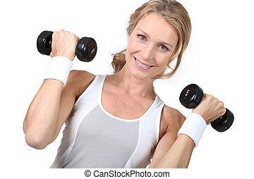 donna, pesi, sollevamento