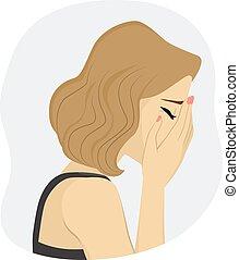 donna piange, triste