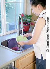 donna, piatti lavaggio