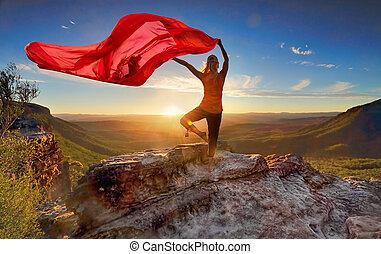 donna, pilates, yoga, equilibrio, con, assoluto, fluente, tessuto