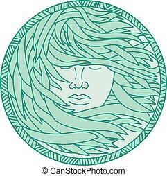 donna, polinesiano, mono, capelli, fuco, mare, cerchio, linea