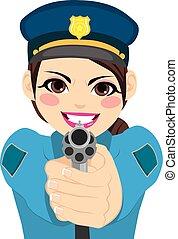 donna poliziotto, fucile, indicare