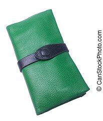 donna, portafoglio, colour), borsellino, fondo., o, (green
