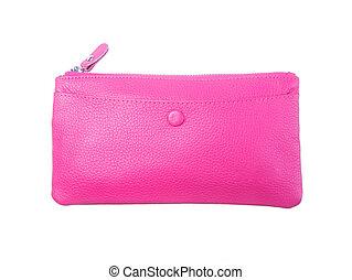 donna, portafoglio, colour), borsellino, fondo., (pink, o