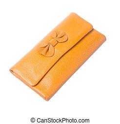 donna, portafoglio, colour), borsellino, fondo., (yellow, o