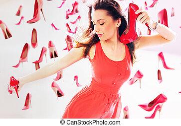 donna, portante, rosso, alto-tallone ferra
