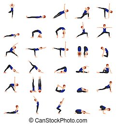 donna, pose, yoga, illustrazione