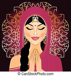 donna pregando, indiano