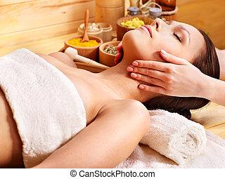 donna, prendere, massaggio facciale, .