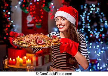 donna, preparando natale, cena