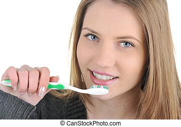 donna, presa a terra, sano, giovane,  tooth-brush, denti, sorridente