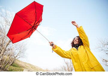 donna, presa, volare, ombrello