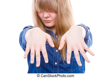 donna, presenta, mani, nails.