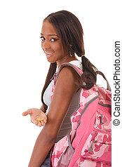 donna, preservativo, americano, studente università, africano