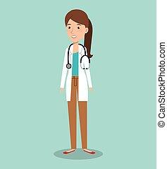 donna professionale, avatar, dottore
