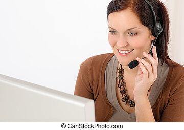 donna professionale, centro chiamata, rappresentante