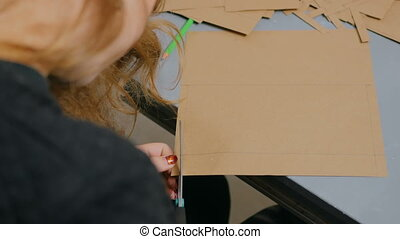 donna, progettista, lavorativo, carta, decoratore,...